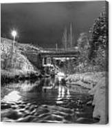 At Night By River. Canvas Print