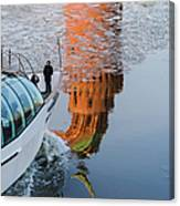 At The Background Of Moscow Kremlin - Featured 3 Canvas Print