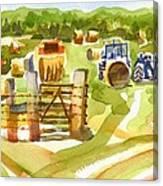 At The Farm Baling Hay Canvas Print