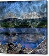 At The Lake - Fishing - Steel Engraving Canvas Print