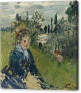 At The Meadow. Vetheuil Canvas Print