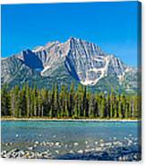 Athabasca River With Mountains Canvas Print