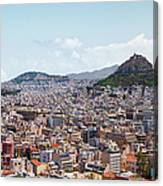 Athens Panorama View From The Acropolis Canvas Print