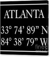 Atlanta Coordinates Canvas Print