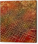 Atlanta Georgia City Street Map Watercolor From 1892 On Recovered Worn Parchment Paper Canvas Print