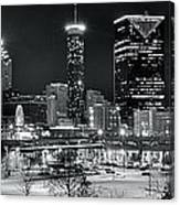 Atlanta Panoramic Black And White Canvas Print