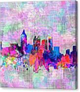 Atlanta Skyline Watercolor 4 Canvas Print