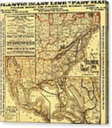 Atlantic Coast Line Railway Map 1885 Canvas Print