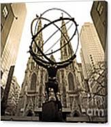 Atlas At Rockefeller Center Back Side Canvas Print