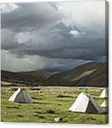 Atmospheric Grassy Camping Canvas Print