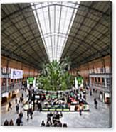Atocha Railway Station Interior In Madrid Canvas Print
