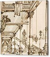 Atrium Of A Palace, In Genes, From Art Canvas Print
