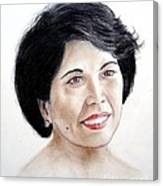 Attractive Filipina Woman With A Facial Mole Canvas Print