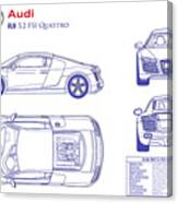 Audi R8 Blueprint Canvas Print