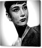 Audrey Hepburn - Black And White Canvas Print