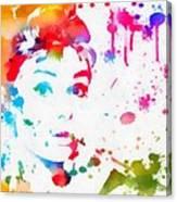 Audrey Hepburn Paint Splatter Canvas Print
