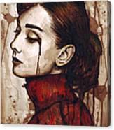 Audrey Hepburn - Quiet Sadness Canvas Print