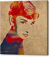 Audrey Hepburn Watercolor Portrait On Worn Distressed Canvas Canvas Print