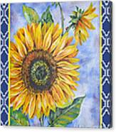 Audrey's Sunflower With Boarder Canvas Print