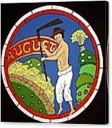 August - Threshing Wheat Canvas Print