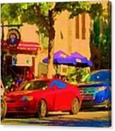 Aupres De Ma Blonde Resto Bar Terrasse Rue St Denis Montreal Cafe Street Scene Art Carole Spandau Canvas Print