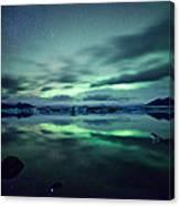 Aurora Borealis Over Lake Canvas Print