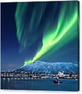 Aurora Borealis Over Tromso Port Canvas Print