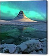 Aurora Over Kirkjufell Mountain Iceland Canvas Print