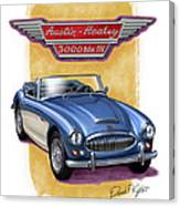Austin Healey 3000 Blue-white Canvas Print