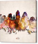 Austin Painted City Skyline Canvas Print