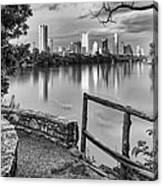 Austin Texas Skyline Lou Neff Point In Black And White Canvas Print