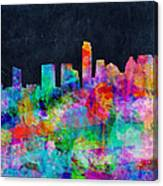 Austin Watercolor Panorama Canvas Print