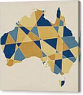 Australia Geometric Retro Map Canvas Print