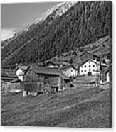Austrian Village Monochrome Canvas Print