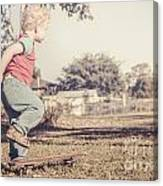 Authentic Faded Brown Vintage Skater Child Canvas Print