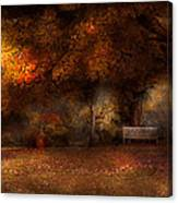 Autumn - A Park Bench Canvas Print