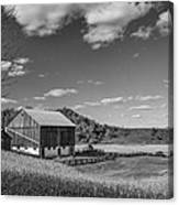 Autumn Barn Monochrome Canvas Print