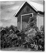 Autumn Barn - Upclose Cropped - Black And White Canvas Print