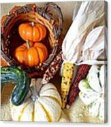Autumn Basketful With Corn Canvas Print