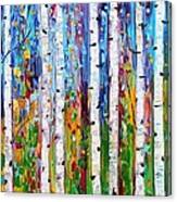 Autumn Birch Trees Abstract Canvas Print