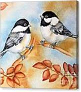 Autumn Chickadees Canvas Print
