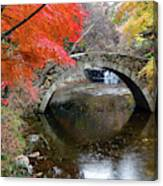 Autumn Color And Old Stone Arched Canvas Print