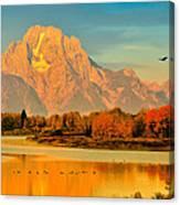 Autumn Dawn At Oxbow Bend Canvas Print