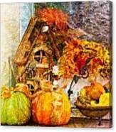 Autumn Display - Pumpkins On A Porch Canvas Print