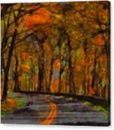 Autumn Drive Freedom And Beauty Canvas Print