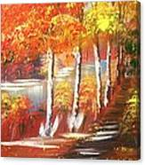 Autumn Falling Leaves  Canvas Print