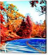 Autumn Forest Road V7 Canvas Print