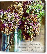 Autumn Hydrangeas Photoart With Verse Canvas Print