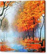 Autumn In The Morning Mist Canvas Print