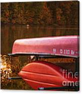 Autumn Kayaks On Newport Lake Canvas Print